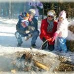 Roasting marshmallows over the winter bonfire